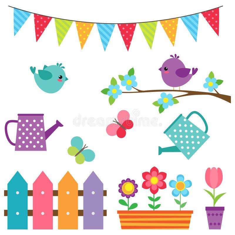 Ensemble d'oiseaux et de fleurs illustration stock