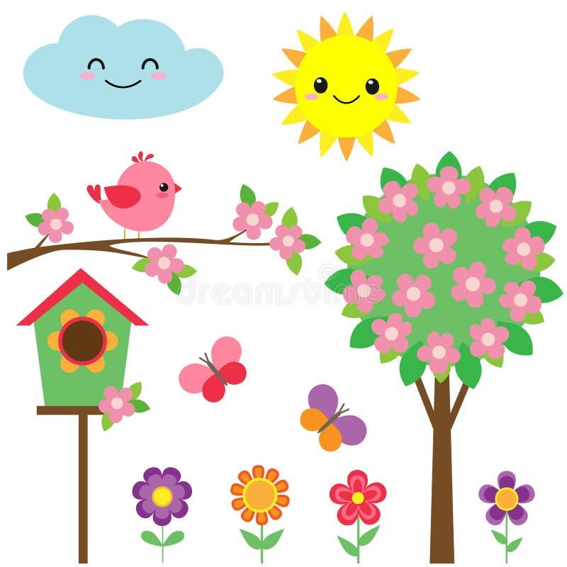Ensemble d'oiseaux et de fleurs illustration de vecteur