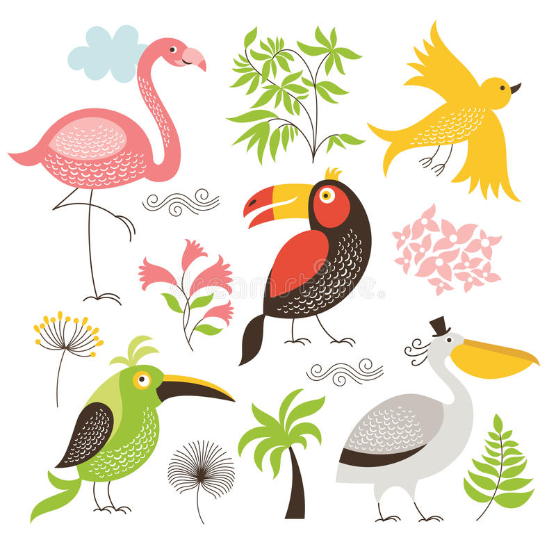 Ensemble d'oiseaux exotiques illustration stock