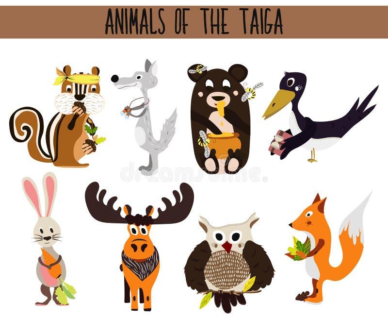 Ensemble d'oiseaux mignons d'animaux de bande dessinée vivant dans le taiga Hibou, Fox, lièvres, élans, ours, corneille, tamia, e illustration stock