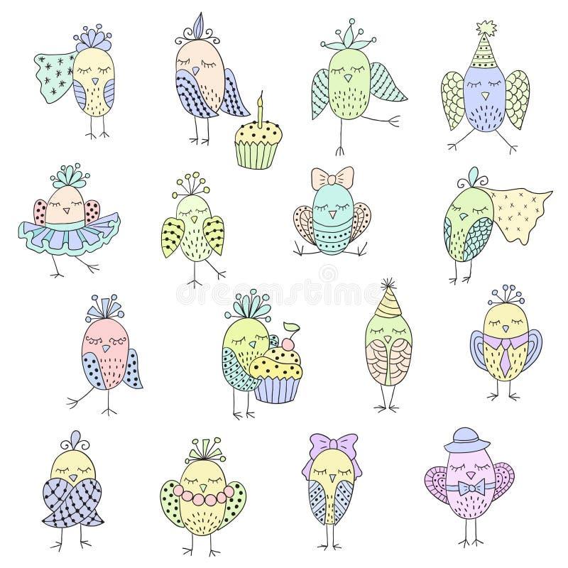 Ensemble d'oiseaux mignons dans différentes actions illustration stock
