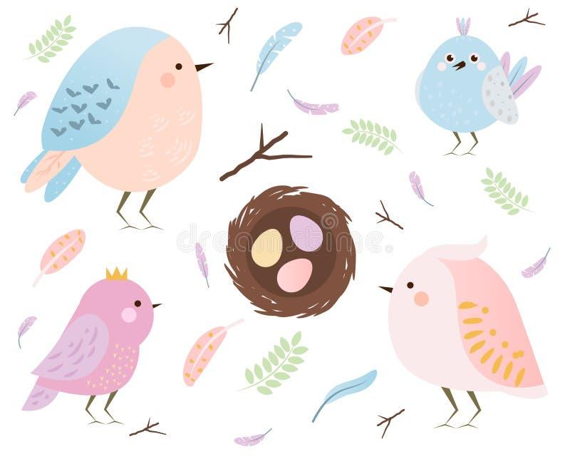 Ensemble d'oiseaux mignons et de plumes de ressort de kawaii d'isolement sur le blanc Oeufs, éléments saisonniers de conception d illustration libre de droits