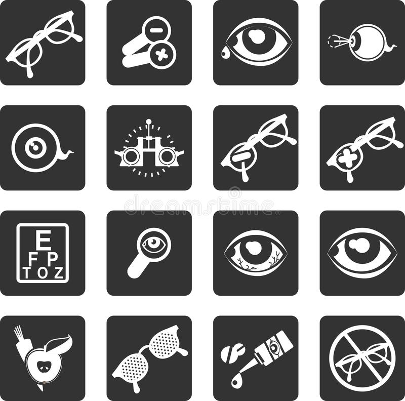 Ensemble d'ophtalmologue d'icônes illustration stock