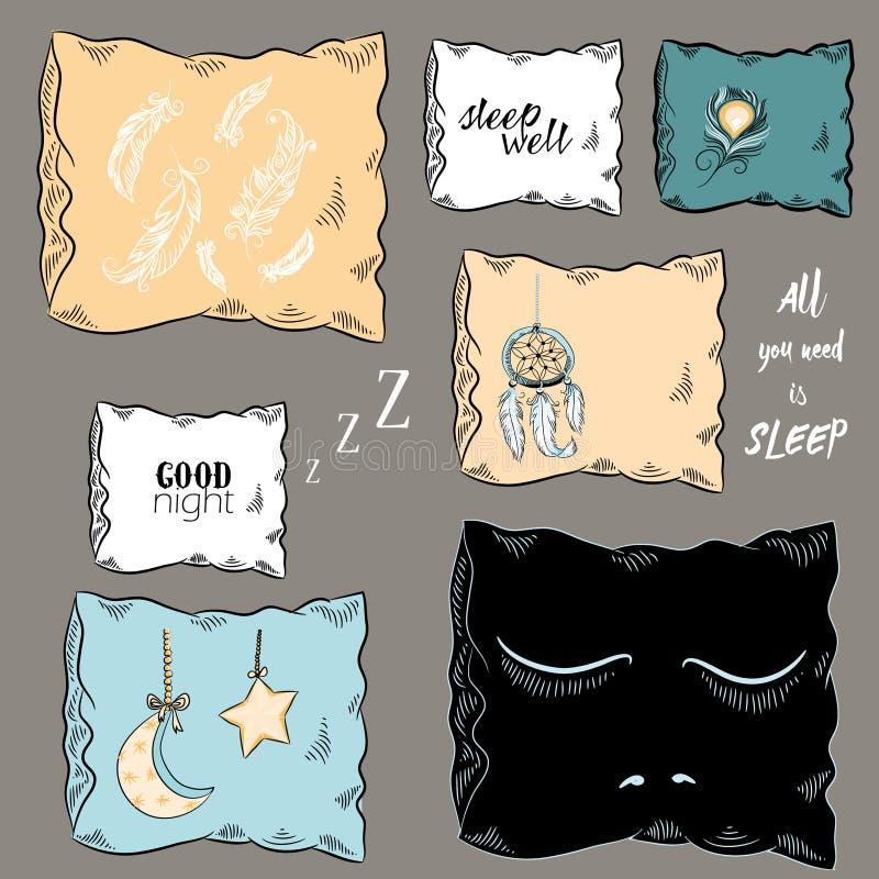 Ensemble d'oreiller décoratif avec le receveur rêveur, les plumes, les yeux fermés, la lune et l'étoile Illustration de vecteur T illustration de vecteur