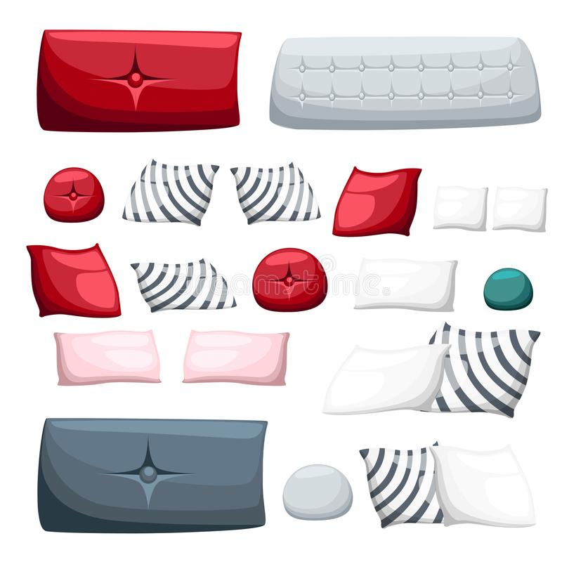 Ensemble d'oreiller multicolore de différents oreillers décoratifs pour la décoration des chaises intérieures de sofa sur l'illus illustration libre de droits
