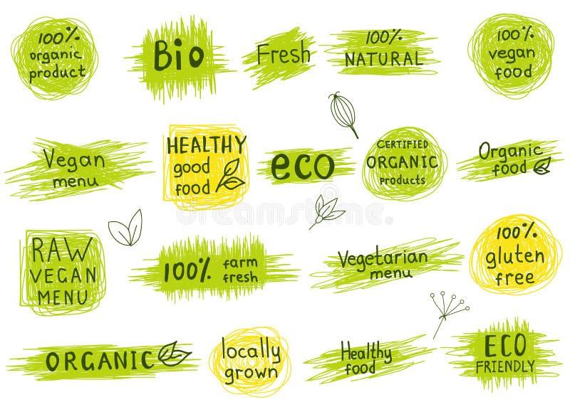 Ensemble d'organique, naturel, bio, eco, labels sains de nourriture illustration de vecteur