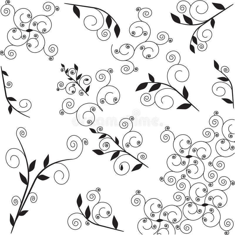 Ensemble d'ornement floral illustration stock