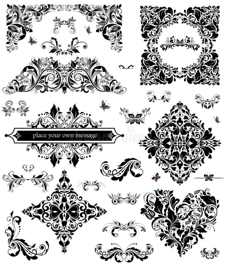 Ensemble d'ornement floral illustration stock