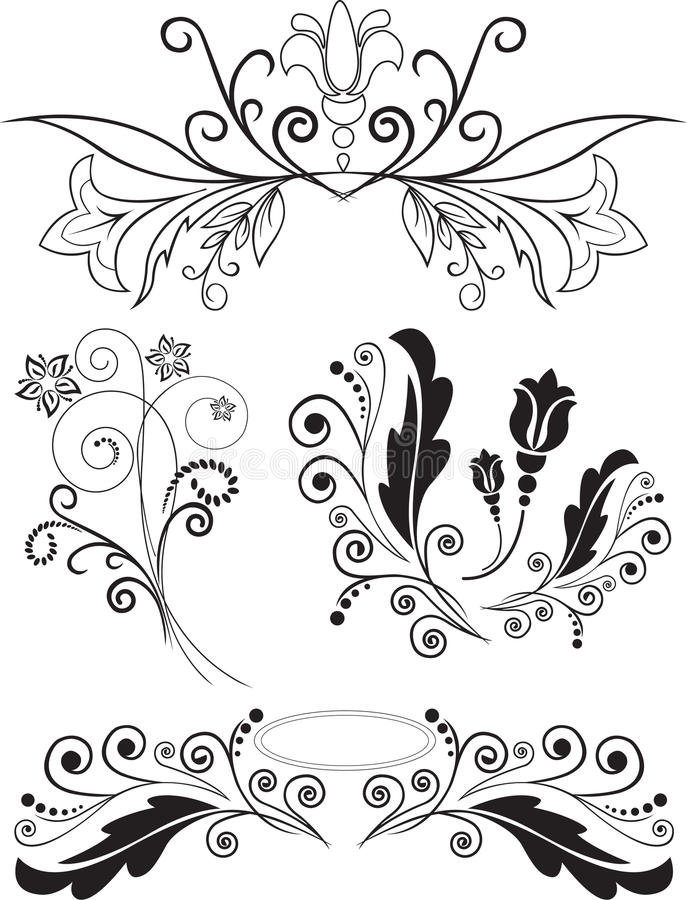 Ensemble d'ornements 3 illustration stock