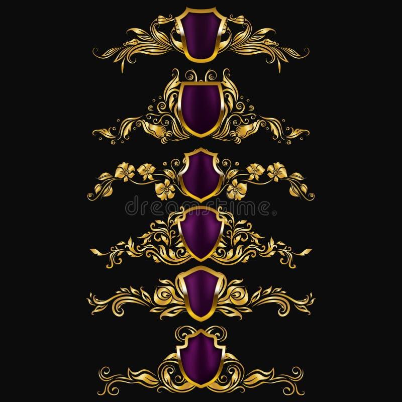 Ensemble d'ornements de damassé de vecteur illustration de vecteur