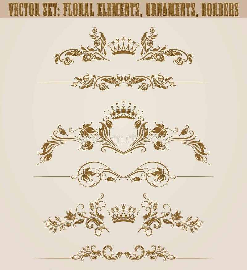 Ensemble d'ornements en filigrane de damassé Éléments d'or floraux, illustration de vecteur