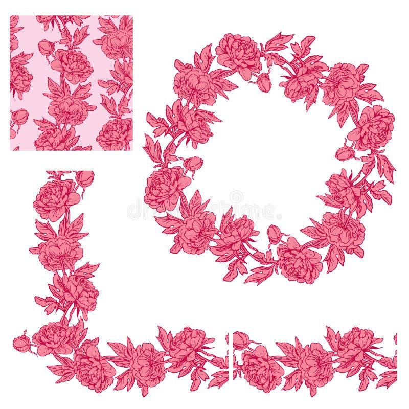 Ensemble d'ornements - frontière, cadre de cercle et s floraux décoratifs illustration de vecteur
