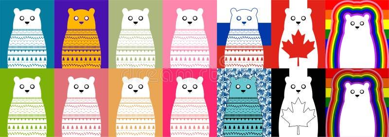 Ensemble d'ours blanc blanc photos libres de droits