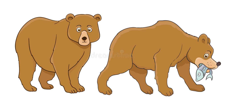 Ensemble d'ours de bande dessinée, position et poissons contagieux illustration de vecteur