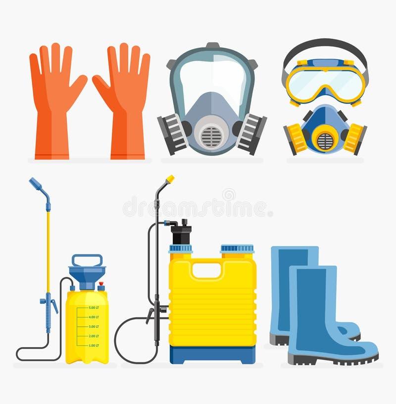 Ensemble d'outil de pesticide Masque et pulvérisateur de gaz illustration stock