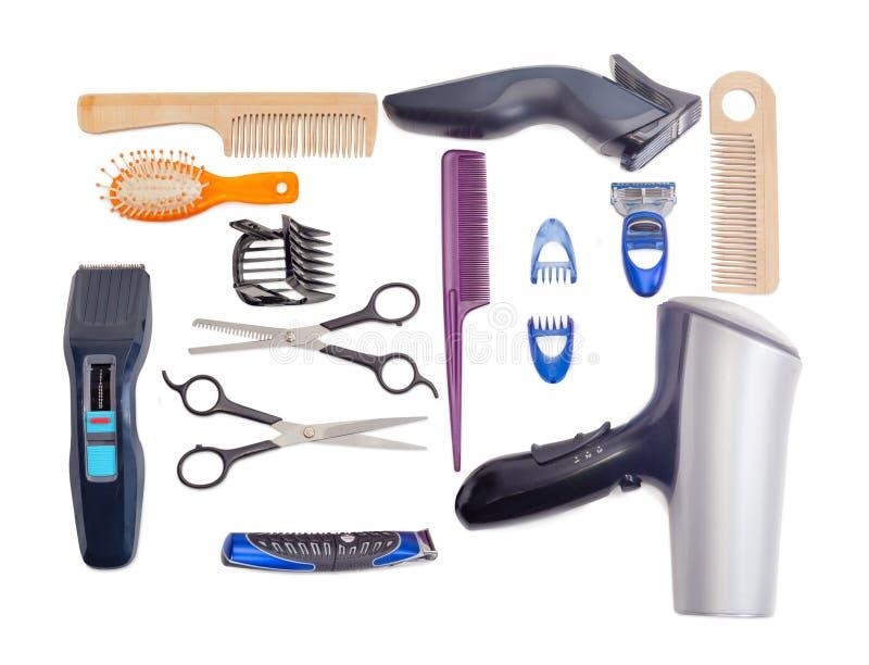 Ensemble d'outils de coiffure sur un fond blanc images libres de droits