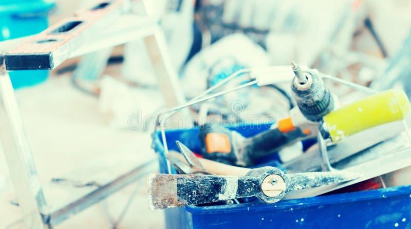 Ensemble d'outils de construction pour réparer les lieux photographie stock libre de droits