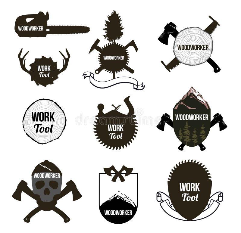 Ensemble d'outils de menuiserie de vintage, icônes, labels, logo illustration libre de droits