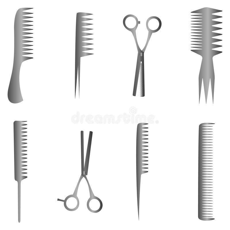 Ensemble d'outils de salon de coiffure avec les ciseaux et le peigne illustration stock
