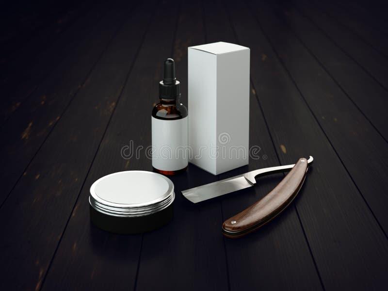 Ensemble d'outils de vintage d'une maquette d'emballage de produit de coiffeur illustration stock
