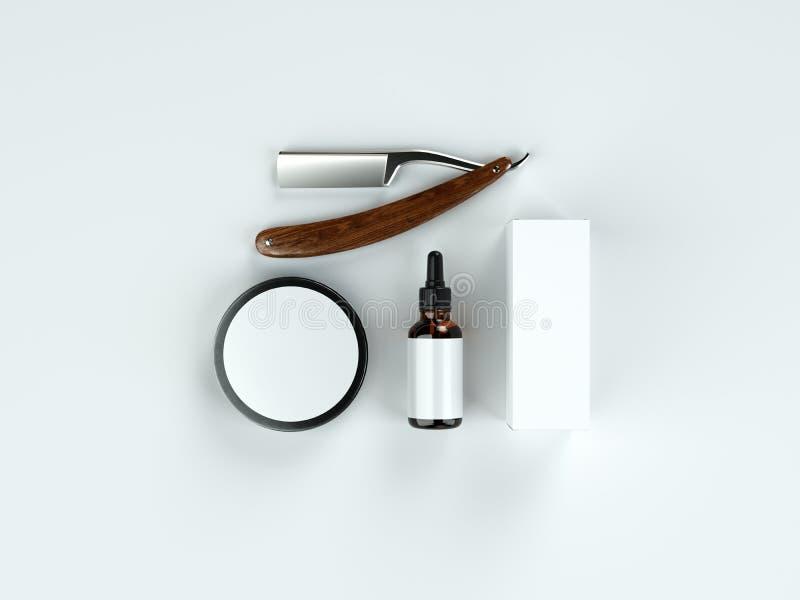 Ensemble d'outils de vintage d'une maquette d'emballage de produit de coiffeur illustration libre de droits
