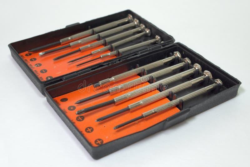 Ensemble d'outils et de tournevis pour le travail de précision photographie stock