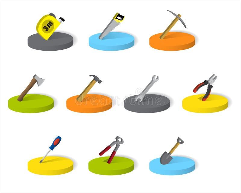 Ensemble d'outils industriels isométriques sur une base ronde illustration de vecteur