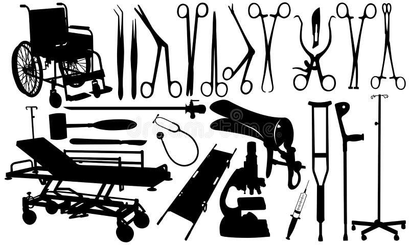 Ensemble d'outils médicaux d'isolement illustration libre de droits
