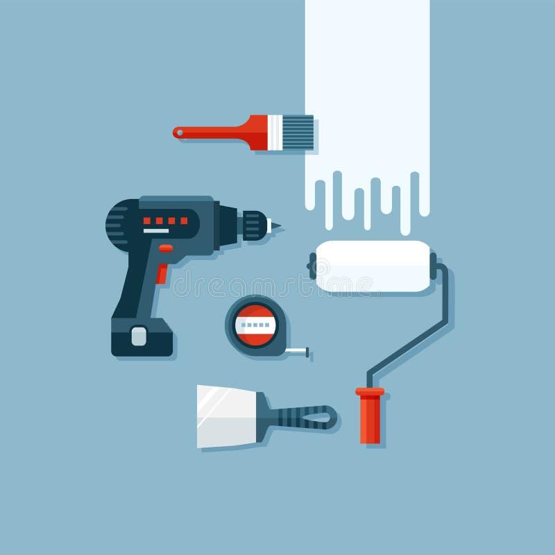 Ensemble d'outils plats de construction illustration libre de droits