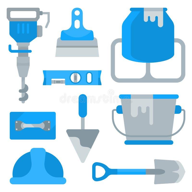 Ensemble d'outils pour établir le travail illustration de vecteur