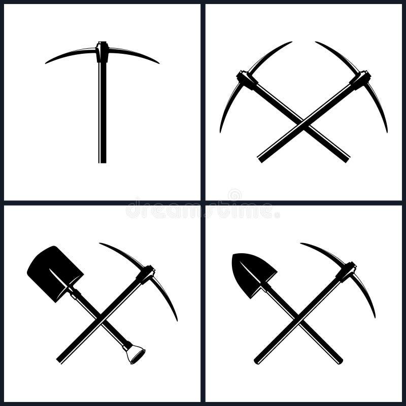 Ensemble d'outils pour l'excavation illustration libre de droits
