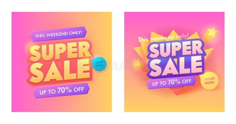 Ensemble d'or superbe d'affiche de typographie de la vente 3d Conception à la mode d'affiche de gradient de promotion spéciale La illustration stock