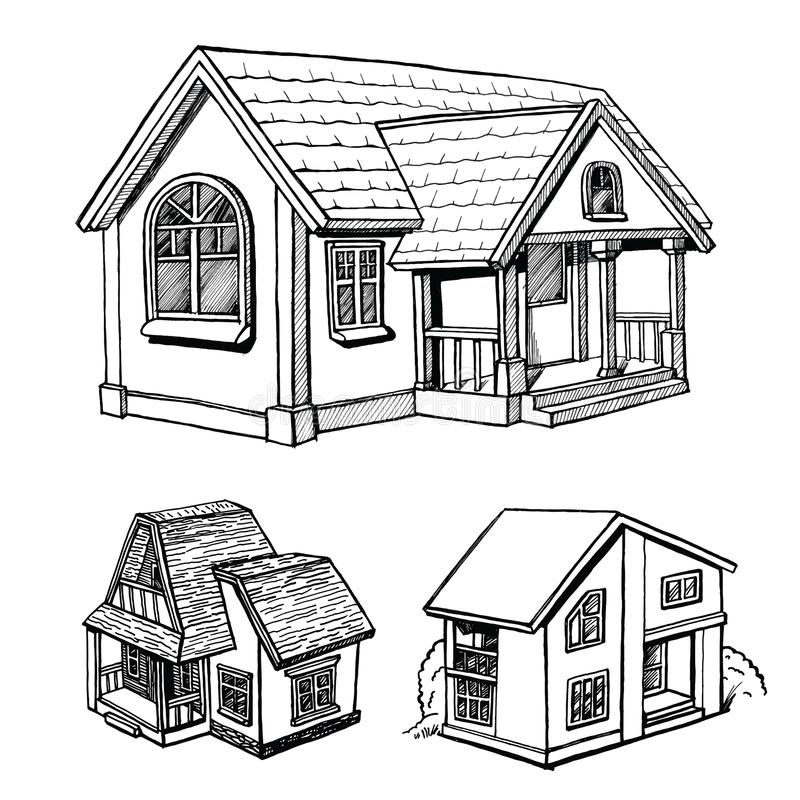 Ensemble d'un croquis de cottage illustration stock