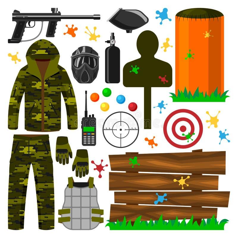 Ensemble d'uniforme de protection d'icônes de symboles de club de paintball, illustration de vecteur de cible d'équipement de jeu illustration de vecteur