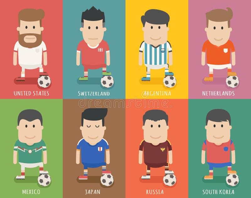 Ensemble d'uniforme national d'équipe de football, joueur de football illustration stock