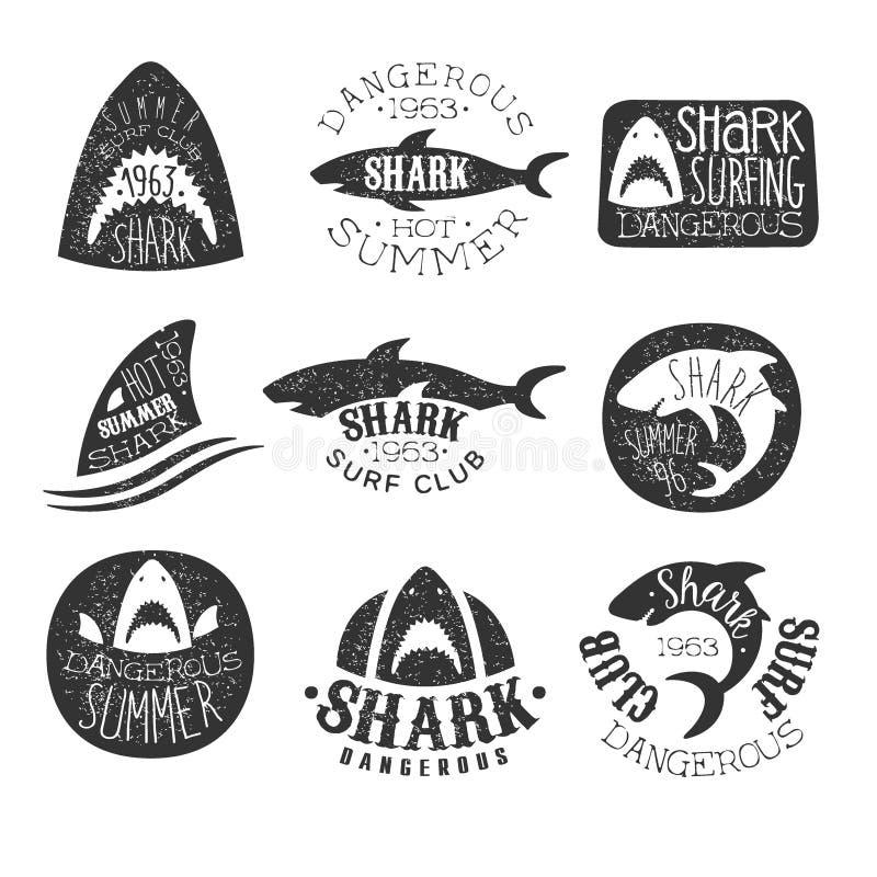 Ensemble dangereux de club de ressac de requin de et copies illustration de vecteur