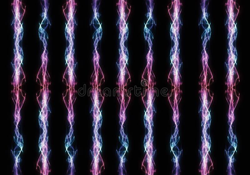 Ensemble dangereux multicolore unique de résumé artistique de grèves surprise puissantes électriques colorées image libre de droits