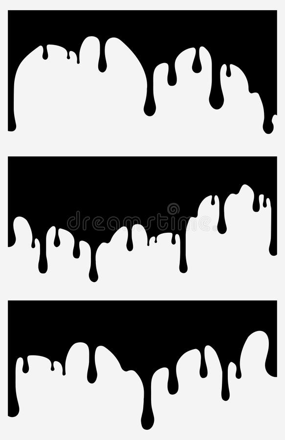 Ensemble de 3 égouttements noirs de peinture Illustration de vecteur pour votre eau doux de design illustration libre de droits