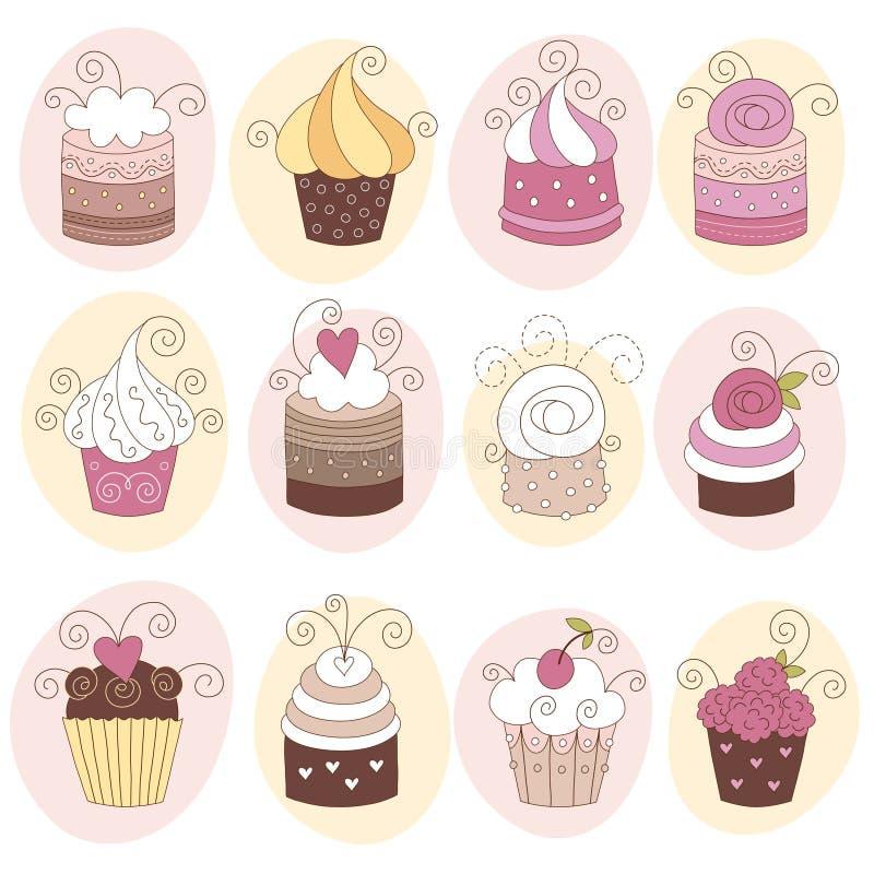 Ensemble de 12 gâteaux mignons illustration libre de droits
