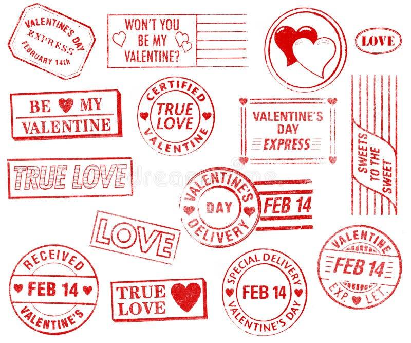 Ensemble de 15 estampilles du jour de Valentine illustration libre de droits