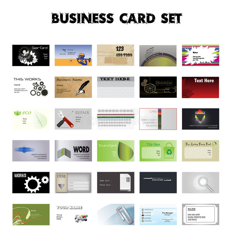 Ensemble de 30 cartes de visite professionnelle de visite illustration de vecteur