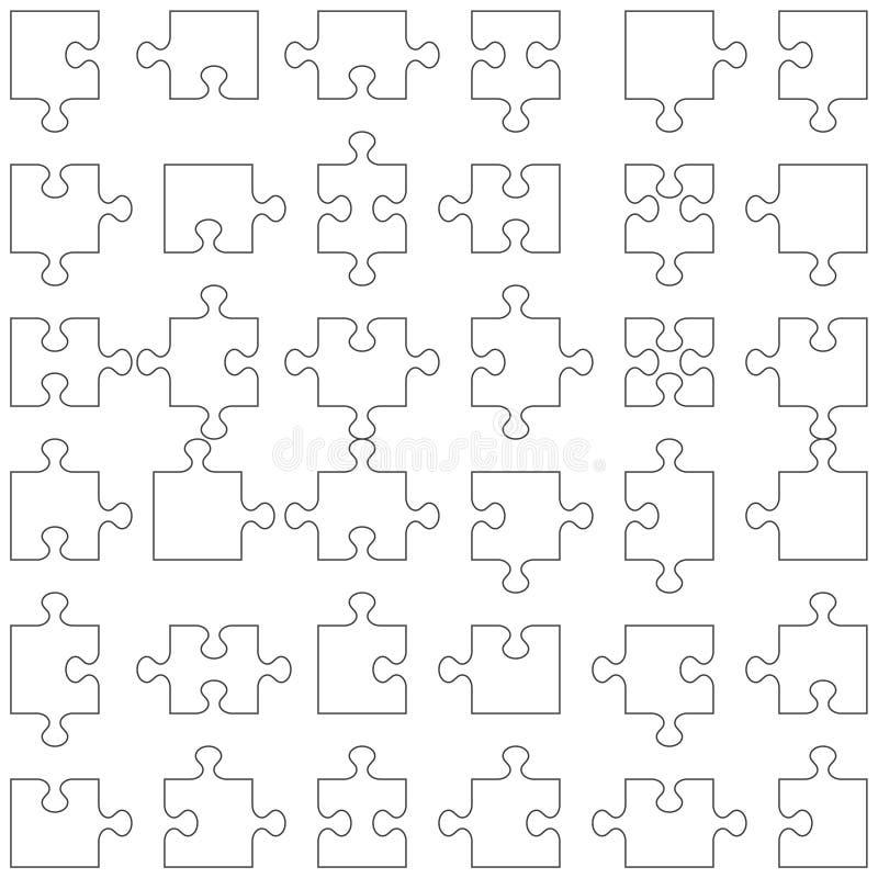 Ensemble de 36 parties de puzzle illustration libre de droits