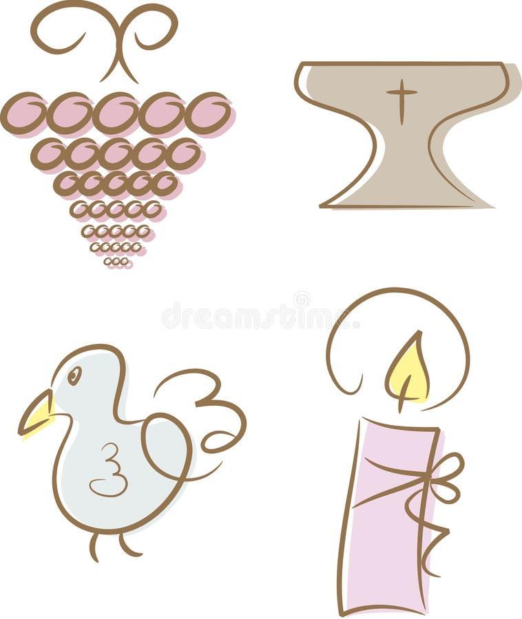 Ensemble de 4 religieux/de graphismes chrétiens illustration libre de droits