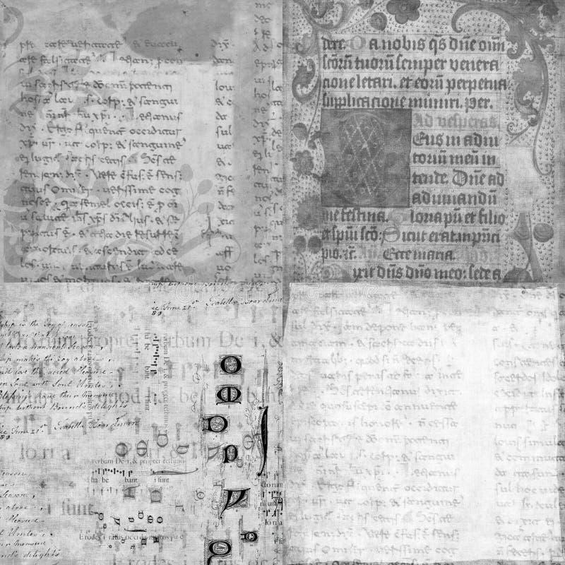 Ensemble de 4 textures antiques de manuscrit de cru illustration libre de droits