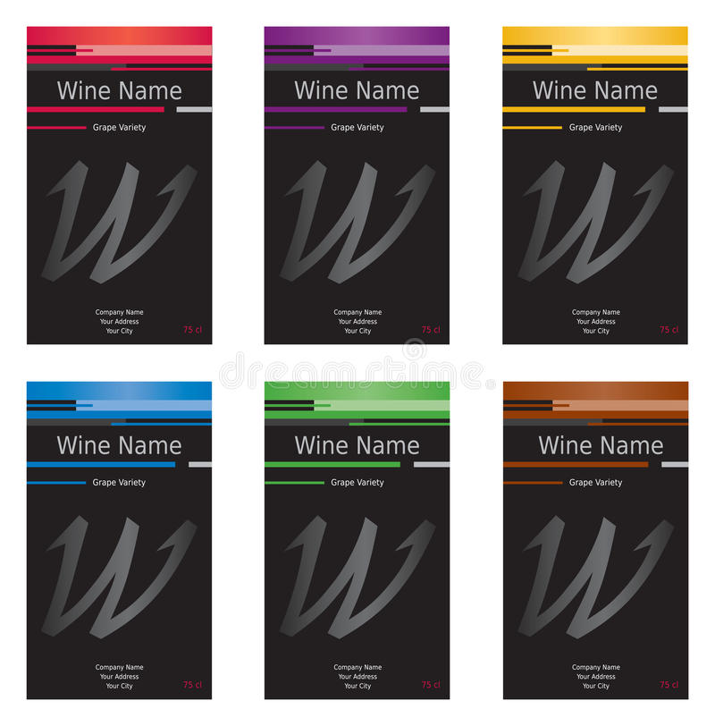 Ensemble de 6 étiquettes de vin illustration de vecteur