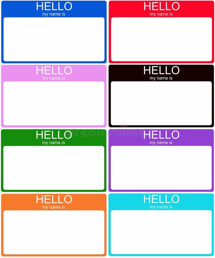 Ensemble de 8 étiquettes nommées colorées illustration stock
