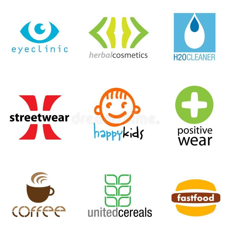 Ensemble de 9 conceptions de marque illustration libre de droits