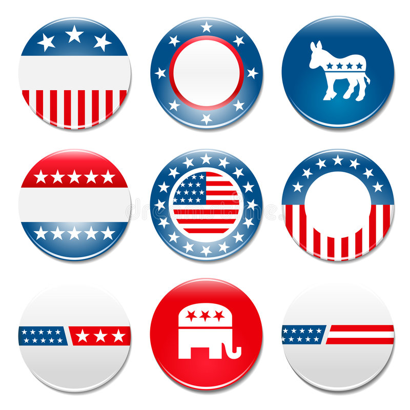 Ensemble de 9 insignes de campagne d'élection illustration de vecteur