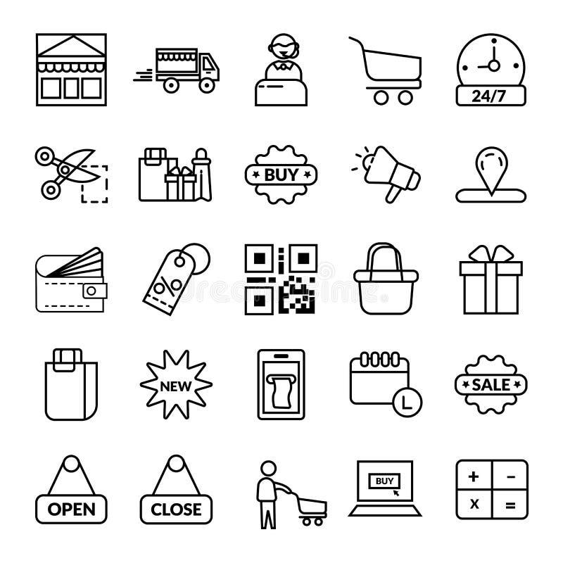 Ensemble de achat linéaire noir de achat d'icône de symbole de vecteur d'ensemble d'icône illustration de vecteur