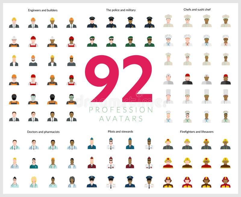 Ensemble de 92 avatars plats de profession Ingénieurs et constructeurs, sapeurs-pompiers et sauveteurs, police et militaire, pilo illustration stock